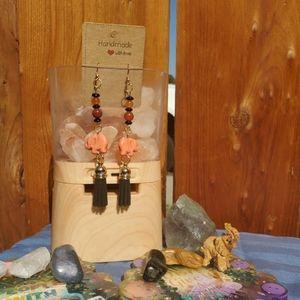 Handmade Black and orange agate tassel earrings